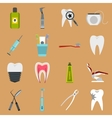 Dental icons set flat style vector image vector image