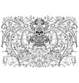 design with winged demon skull and snake vector image vector image