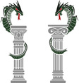 dragons and columns vector image vector image