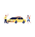 driver and traveler tourist catches taxi man vector image vector image