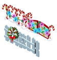 element of wooden fence and candy cane with vector image vector image