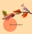 fall seasonal background bird on a tree branch vector image vector image