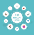 flat icons wedding gown brilliant present and vector image vector image