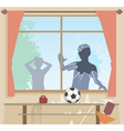 Football breaks window vector image vector image