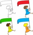 Girl with a flag in his hands vector image vector image