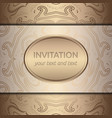 gold invitation card with rich ornament vector image