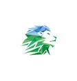 green creative geometric lion head logo symbol vector image vector image