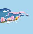 happy easter card paper cut art background vector image