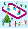 Isometric Ice Rink with People and Children vector image vector image