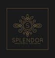 luxurious letter s logo with classic line art vector image vector image