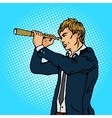 Man and telescope comic book vector image