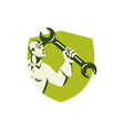 Mechanic Wielding Spanner Wrench Shield Retro vector image vector image