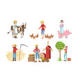 people working on farm and garden set male and vector image vector image