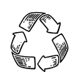 Recycle sign Vintage black engraving vector image vector image
