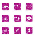 rock group icons set grunge style vector image vector image