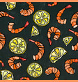 seafood seamless pattern shrimp or prawn and vector image vector image