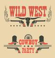 set cowboy labels and western symbols vector image