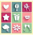 Set Love chat favorites congratulation icons vector image vector image