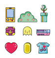 set of retro videogames items vector image vector image