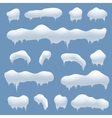Snow caps snowballs and snowdrifts set vector image
