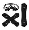 snowboard decks and ski glasses objects vector image