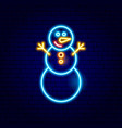 snowman neon sign vector image vector image