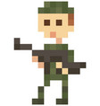 soldier in military uniform for pixel game design vector image