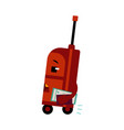 suitcase cartoon character with ticket and vector image