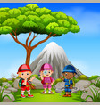 three adventurer in park with mountain scene vector image vector image