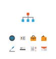 trade icons flat style set with wallet contract vector image