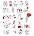 valentines day background with cute baby cat vector image vector image