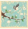 Vintage cartoon flowering branch stork newborn vector image vector image