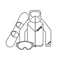 winter sport equipment black and white vector image vector image