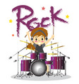 young boy playing drumset happy love music color vector image