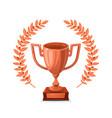 bronze trophy cup with laurel wreath winner award vector image