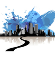 City skyscrapers with abstract blue clouds vector image