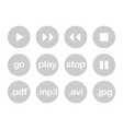 play button or flat grey web icon set isolated vector image