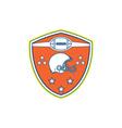 American Football Helmet Stars Shield Retro vector image vector image