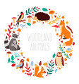 autumn animals wreath cute cartoon autumn animals vector image