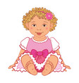baby girl in pink dress happy princes vector image vector image