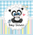 baby shower greeting card with cartoon panda vector image vector image