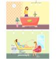 beauty spa salon reception and pedicure set vector image vector image