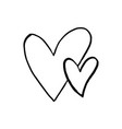 black hand drawn hearts on white background vector image vector image