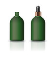 blank green round cosmetic bottle dropper lid vector image vector image