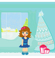 cartoon girl and christmas tree with gifts vector image