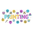 cartoon printing signs concept card poster vector image