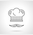 chef hat and mustache flat line icon vector image vector image