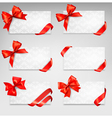 Collection of gift cards with red ribbons vector image