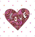 creative zentangle heart with text love vector image vector image