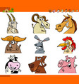 Farm animal characters cartoon set